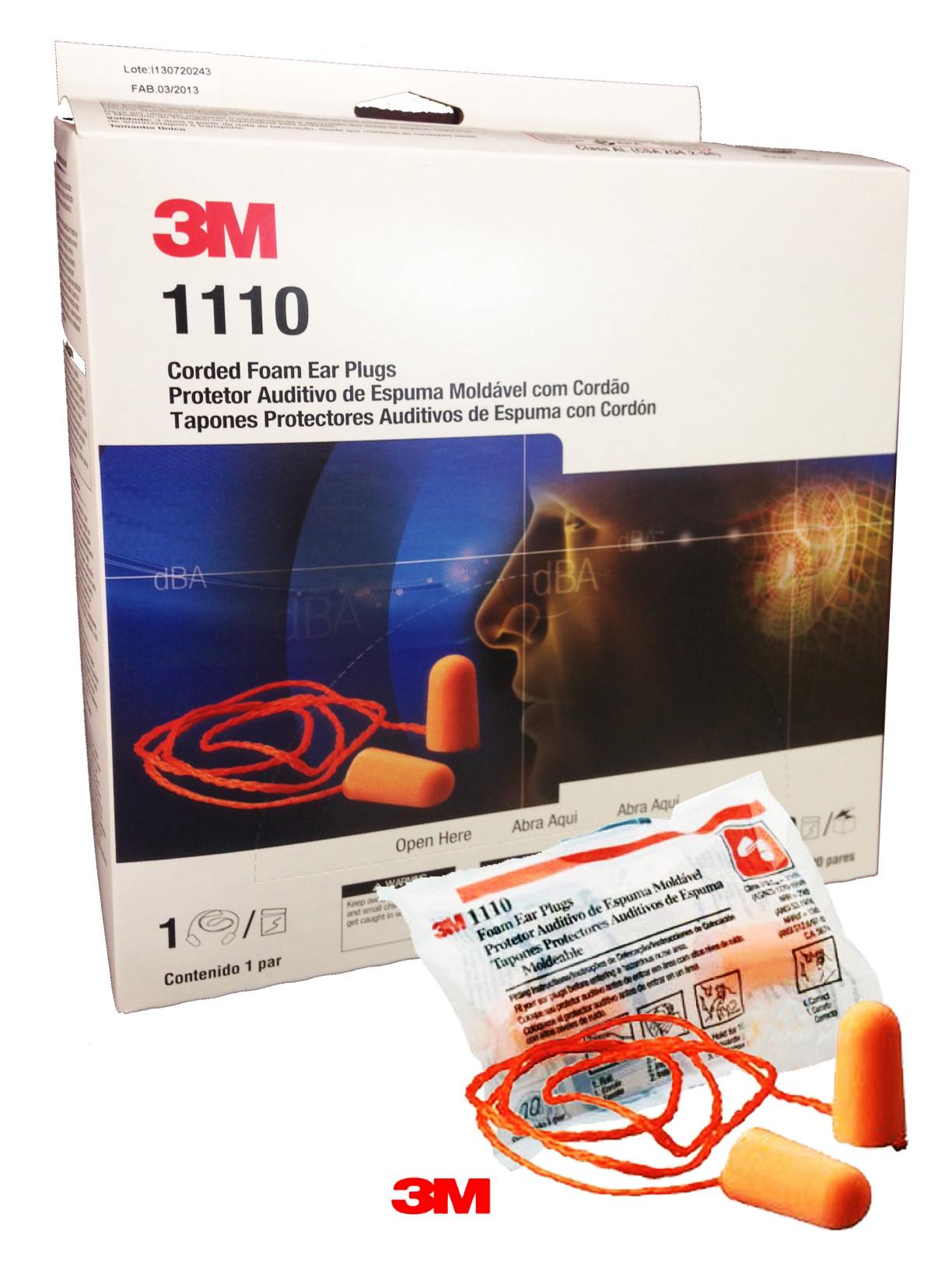 Protetor Auditivo Plug Espuma C  Cordão 1110 3M 15dB Cx. 100 pares 1071ad0692