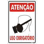 Placa Atenção Uso Obrigatório de Máscara 20x30cm (Ref. AZ0129)